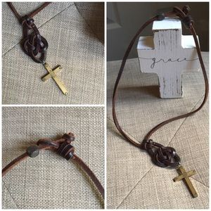 Brown Leather Necklace with Gold Tone Cross